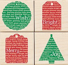 Holiday Message Tags Wood Mounted Rubber Stamp Set (LL954)
