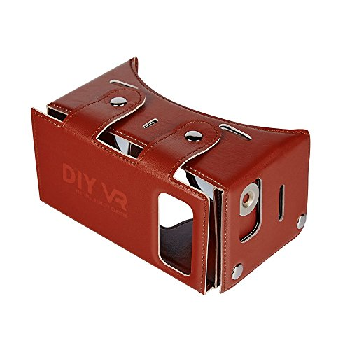 Daisen tech 2016 Best New Waterproof PU leather DIY 3D VR Box Google Virtual Reality Headset Glasses Cardboard Movie Game for Smartphones with Headband (Brown)