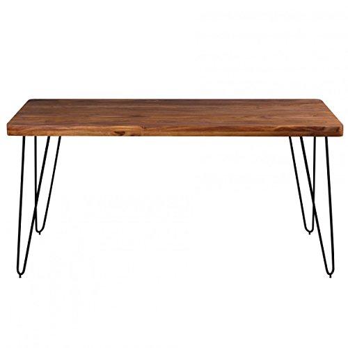 Finebuy esstisch massivholz sheesham 160 x 80 x 76 cm for Esstisch holz mit metallbeinen