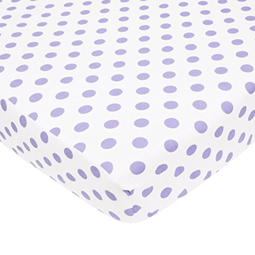 TL Care 100% Cotton Percale Fitted Crib Sheet, White with Lavender Dot (Lavender Crib Sheet compare prices)