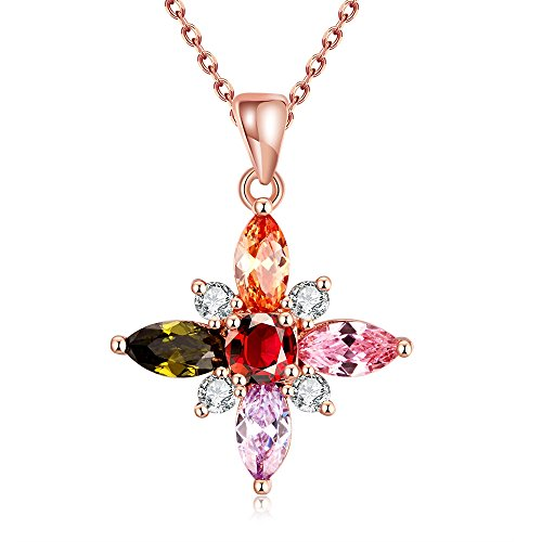 winters-secret-colours-zircon-accented-four-leaf-flower-pendant-rose-gold-plated-charming-necklace
