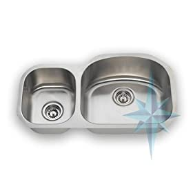 Polaris Sinks R105 Undermount Offset Double Bowl Kitchen Sink- Stainless Steel