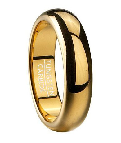 Men'S 6Mm Comfort Fit Traditional Gold Plated Tungsten Wedding Ring With Classic Domed Profile And Polished Finish