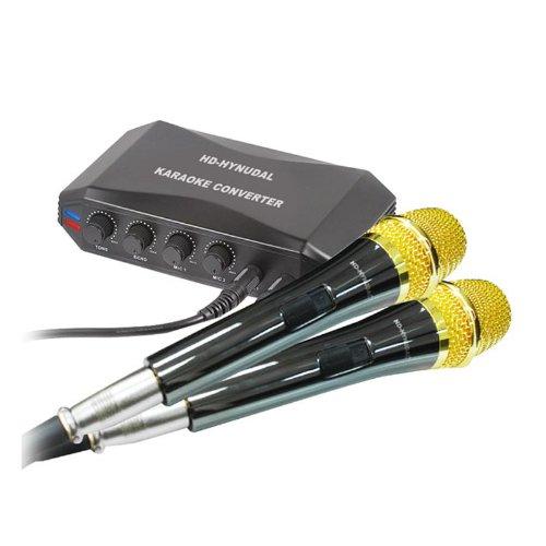 Hd-Hynudal® Online Singing Machine Karaoke Converter + 2 Condenser Microphones For Mid,Pc,Laptop,Ipad,Dvd