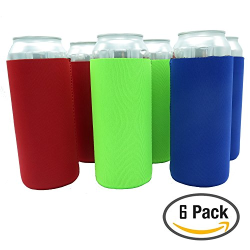 Beer Can Sleeves - Premium Set of 6 (Classic) 24 oz Collapsible Can Sleeves - Extra Thick Neoprene with Stitched Fabric Edges