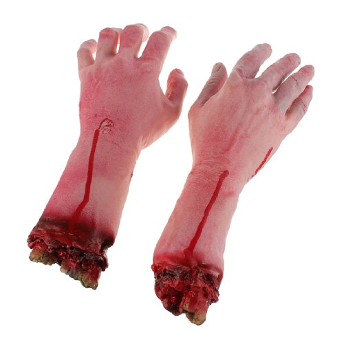 Terror Severed Bloody Fake Lifesize Arms Hands . (Life Size Severed Hand)