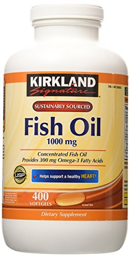 Kirkland Signature Fish Oil Concentrate with Omega-3 Fatty Acids, 400 Softgels, 1000mg (Fish Oils Omega 3 compare prices)