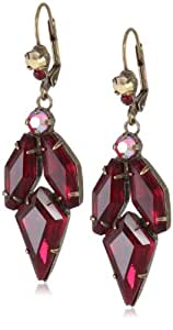 """Sorrelli """"Ruby Cocktail"""" Red and Gold Navette Crystal Dangle French Wire Earrings"""