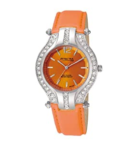 Q and Q Attractive ION-PLATED women Silver Case with rhinestones orange leather Band