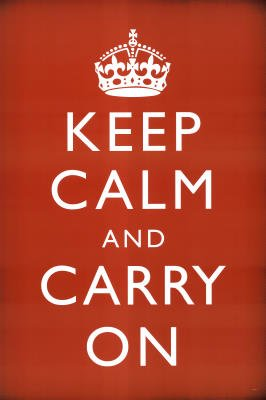 Keep Calm and Carry On (Motivational, Red) Art Poster Print - 61x91 cm
