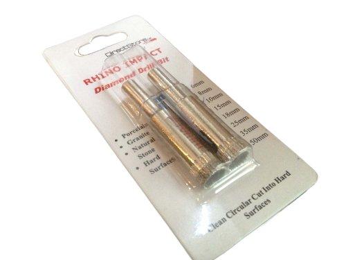 Rhino - Punta diamantata per trapano a percussione, 8 mm, confezione doppia