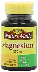 Nature Made Magnesium 250mg, 100 Tablets (Pack of 6)