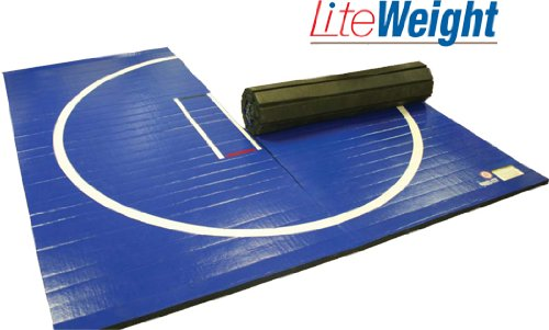 Wrestling Mat - LiteWeight, 10'x10' (Two 5'x10' Pieces), Mat:Black, Markings:Red, 1-5/8