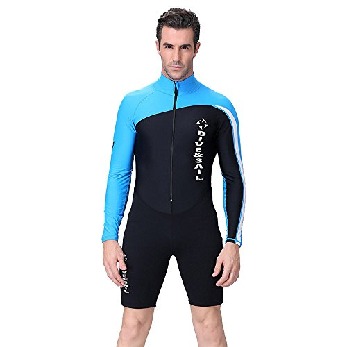 A Point Shorty Wetsuit Diving Suits Long-Sleeve Spring Suit Men/Women (XL, men's blue) (Wet Suit Xl compare prices)