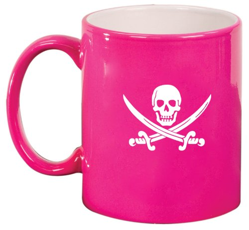 Pink Ceramic Coffee Tea Mug Jolly Roger Pirate