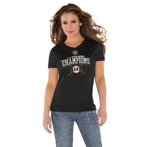 San Francisco Giants Womens 2010 World Series Champions Tri Blend V Neck T Shirt  by Alyssa Milano
