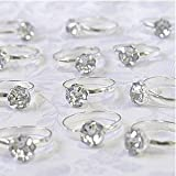 Silver Engagement Rings for Table Decorations or Favor Accents - pack of 12