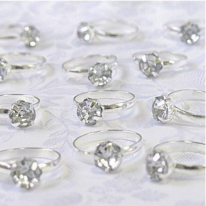 Silver Engagement Rings for Table Decorations or Favor Accents - qty of 24