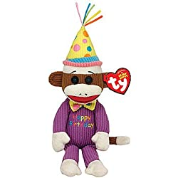 TY Happy Birthday Sock Monkey: Colorful Knit Classic Party Collectible Doll