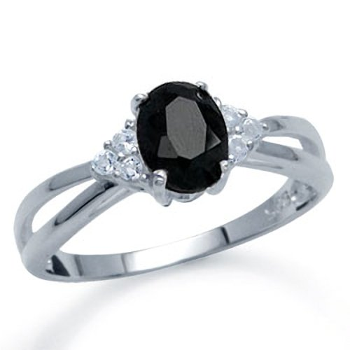 September Birthstone Black Sapphire&Topaz Sterling Silver Engagement Ring Size 7