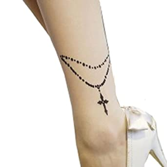 Sexy Ankle Bracelets Cross Print Tattoo Sheer Pantyhose XS to M at