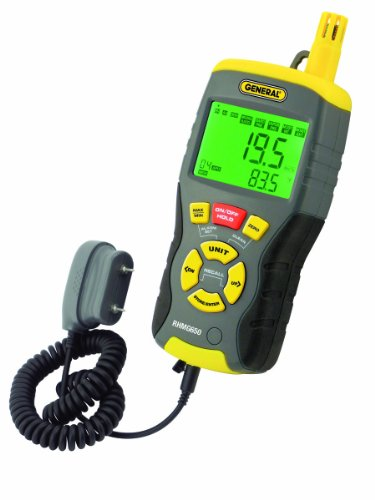 General Tools & Instruments RHMG650 9-In-1 Thermo-Hygrometer with Pin/Pinless Moisture Meter