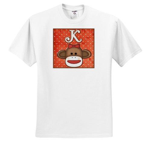 Dooni Designs Monogram Initial Designs - Cute Sock Monkey Girl Initial Letter K - T-Shirts