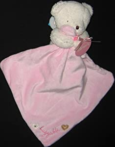 Carter's SmileyHappyFriends White Pink Bear Huggable Lovey Security Blanket