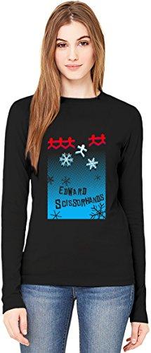 Edward scissorhands movie poster T-Shirt da Donna a Maniche Lunghe Long-Sleeve T-shirt For Women| 100% Premium Cotton Ultimate Comfort Medium