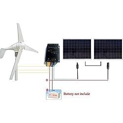 ECO-WORTHY 2 x 180w Solarmodul 24v Solarpanel W/ 400W Windkraftanlage 12V/24V Windgenerator Windkraftgenerator - 750W 24V Windkraft und Solarstromanlage Kits