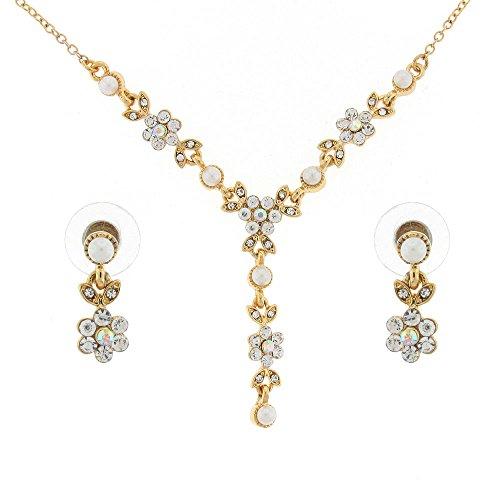 Oro e avorio perla e cristallo austriaco margherita fiore principessa collana e orecchini set di gioielli da sposa