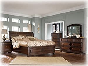 Ashley Porter King Storage Bed in Vintage Casual Rustic Brown