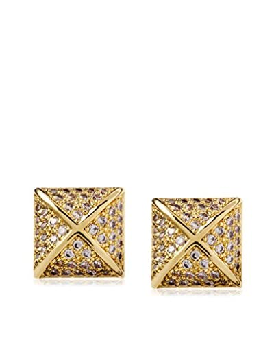 CZ by Kenneth Jay Lane 18K Gold Plated Pave CZ Pyramid Post Earrings