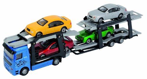 dickie-toys-203745000-car-trailer-lkw-autotransporter-mit-vier-pkws-28-cm