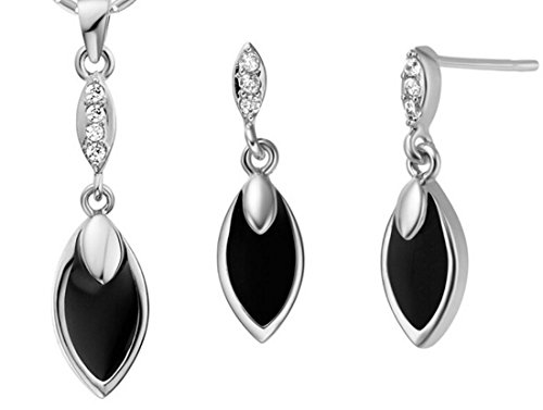 Xmt386Lenli141219704 Silver Black 18K Plated 925 Sterling Silver Plating Horse Eye Pendant Ring Jewelry Sets