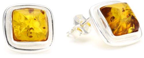 Sterling Silver Honey Amber Rhombic Small Stud Earrings