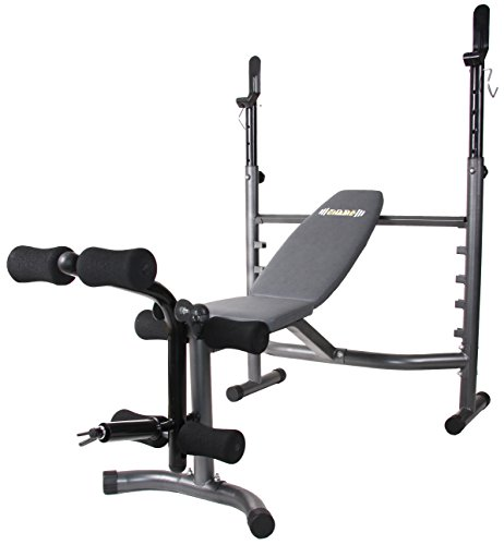 Body Champ Olympic Weight Bench with Leg Developer, Dark Gray/Black