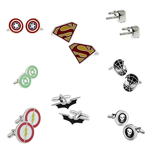 Superheroes-Marvel-and-DC-Comics-Assorted-Superheroe-Logos-8-Pairs-Mens-Wedding-Groomsman-Cufflinks-WGift-Box