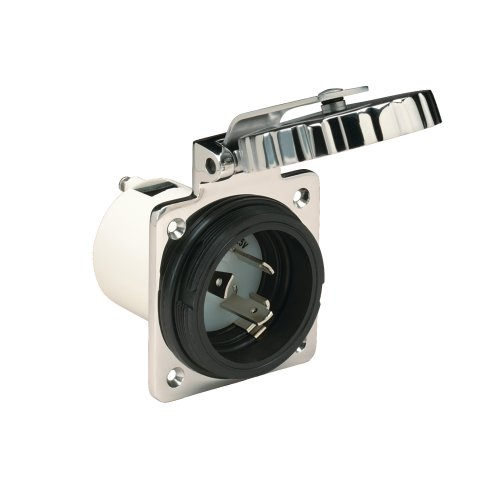 Marinco 16 Amp/230V S/S Inlet - White/Silver