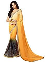 Ethnic Station Yellow Lace Work Saree - B00RVQF538