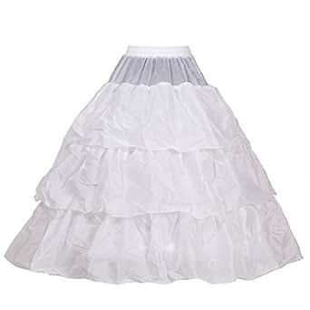 HIMRY Design Jupon de Mariée en Crinoline, 3 Cerceau, avec lacet, Taille Unique, Adéquat pour Taille 34, Taille 36, Taille 38, Taille 40, Taille 42, Taille 44. Blanc, KXB-0026 White