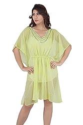 Liwa Yellow Polyester Kaftan For Women