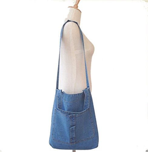 New Korea Fashion Large Women Rock Denim Crossbody Shoulder Bag Tote (Blue)
