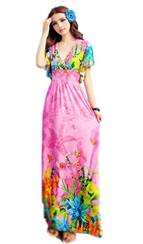 Women Bohemia Floral Strap Cover Up Maxi Beach Dress