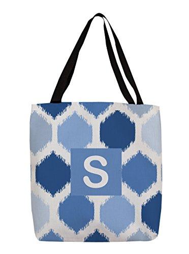 Thumbprintz Shopping Tote Bag, 16-Inch, Monogrammed Letter S, Blue Batik
