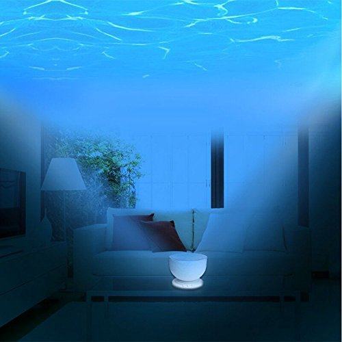 Ocean Waves LED Night Light Ceiling Projector Lamp Bedroom Water W// Speaker Gift