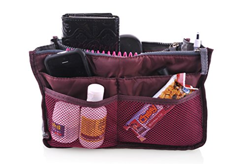 "Q-Bit By Sharkskinzz Purse Insert Organizer And Travel Tote Bag ""Switch From One Bag To Another In Seconds"" (Eggplant) front-1048291"