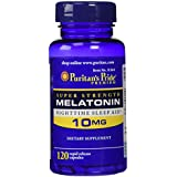 Puritan's Pride Super Strength Rapid Release Capsules Melatonin 10 mg -- 2 Bottles each of 120 Count