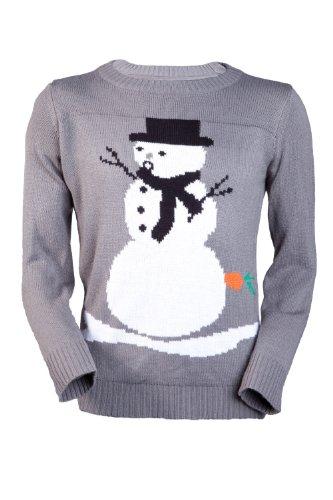 Jingleballz Men's Oh Face Snowman -L GREY
