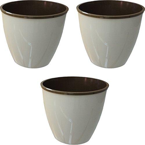 les-couleurs-round-plastic-flower-plant-pot-planter-set-of-3-10l-cream-bronze